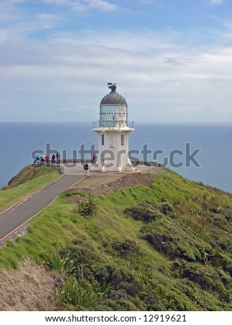 Cape Reinga Lighthouse at the top of the North Island, New Zealand. - stock photo
