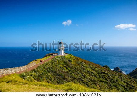 Cape Reinga Lighthouse, north edge of New Zealand - stock photo