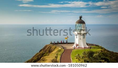 Cape Reinga Lighthouse, north edge of New Zealand - stock photo