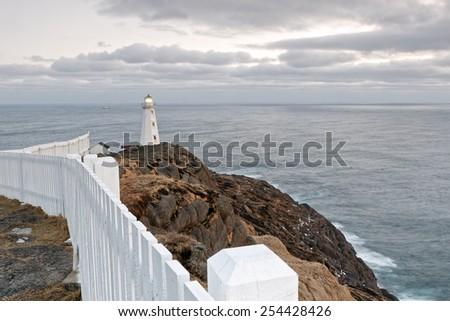 Cape Spear lighthouse, Newfoundland, Canada - stock photo