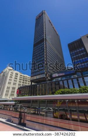 CAPE TOWN ABSA BUILDING, SOUTH AFRICA - JANUARY 7 2016: Cape Town City Centre CBD - hertzog boulevard - stock photo