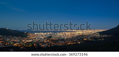 Cape town-aerial panorama view from the city at night