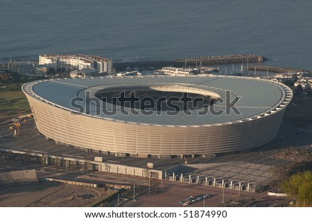 CAPE TOWN - APRIL 4: Green point stadium  is the most modern an fascinating venue of the next world cup of soccer. Here a view of the stadium  from silent hill,  4 april 2010 cape town, South Africa - stock photo