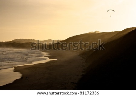 Cape Town beach at sunset, South Africa - stock photo