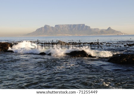 Cape Town from Blouberg Beach - stock photo