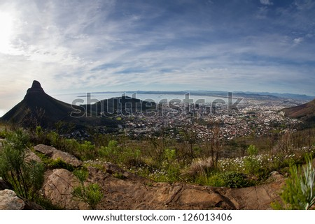 Cape Town is South Africa's most southern city.  It has spectacular scenery around it, good for hiking and scuba diving. - stock photo