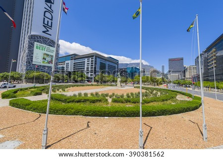 CAPE TOWN LOWER HEERENGRACHT BOULEVARD CIRCLE, SOUTH AFRICA - JANUARY 7 2016: Cape Town City Centre CBD - stock photo