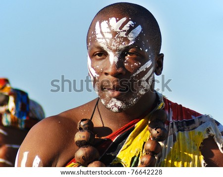 CAPE TOWN - MAY 25 : An unidentified young man wears traditional clothing, during presentation of a Zulu show on May 25, 2007 Cape Town, South Africa - stock photo