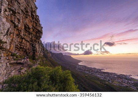 Cape Town's Lion's Head Mountain Peak landscape seen from Table Mountain tourist hike - stock photo