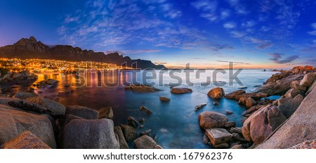 Cape Town's Table Mountain, Lions head & Twelve Apostles are popular hiking destinations for both locals and tourists all year round - stock photo