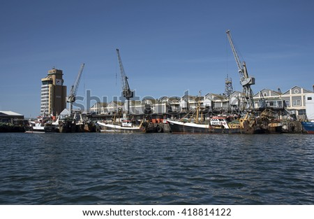 CAPE TOWN SOUTH AFRICA - APRIL 2016 - Fishing fleet vessels alongside in Cape Town harbor Southern Africa