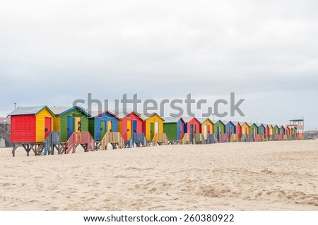 CAPE TOWN, SOUTH AFRICA- DECEMBER 12, 2014: Multi-colored beach huts at Muizenberg in Cape Town, Western Cape Province of South Africa
