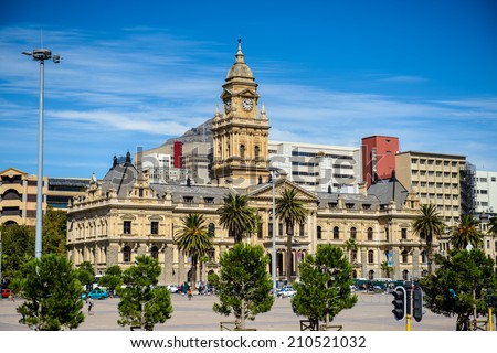 CAPE TOWN, SOUTH AFRICA - FEB 22, 2013: City Hall of Cape Town, South Africa. Cape town is the most popular international touristic destination in Africa - stock photo