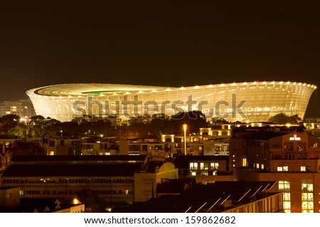 CAPE TOWN, SOUTH AFRICA - MARCH 12: Cape Town Greenpoint Stadium at night on March 12, 2011 in Cape Town, South Africa. This stadium was used during the 2010 FIFA World Cup