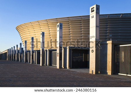 Cape town, South Africa - March 4 2010: Perspective view of the Green Point football stadium at sunset