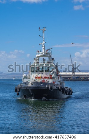 Cape Town South Africa March 20 2016  Tugboat returning to  the Table Bay Harbour