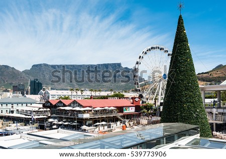 Cape Town, South Africa - November 15, 2016: Christmas preparation at the famous Victoria and Alfred (V&A) Waterfront of Cape Town with the Table Mountain in the background: The tree is erected and