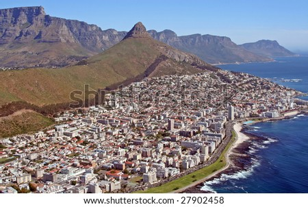 Cape Town, South Africa, View from Helicopter - stock photo