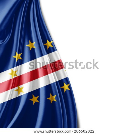 Cape Verde flag of silk and white background
