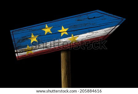 Cape Verde wooden sign isolated on black background
