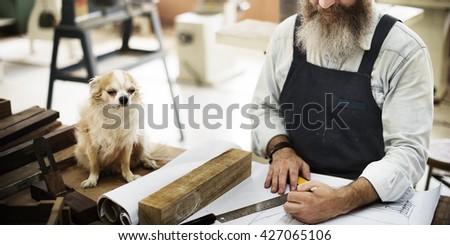 Capentry Skill Dog Draft Blueprint Craft Design Concept - stock photo
