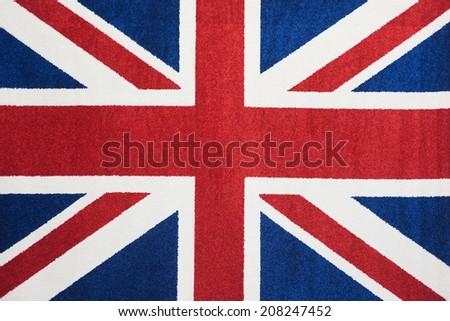 Capet United Kingdom Flag banner britain british emblem england flag graphic great britain symbol British flag woven Turkish carpets - stock photo