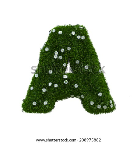 capital letter A spring or summer meadow  - stock photo