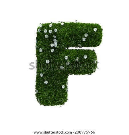 capital letter F spring or summer meadow  - stock photo