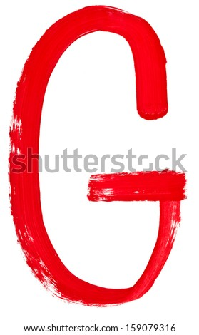 capital letter g hand painted by red brush on white background