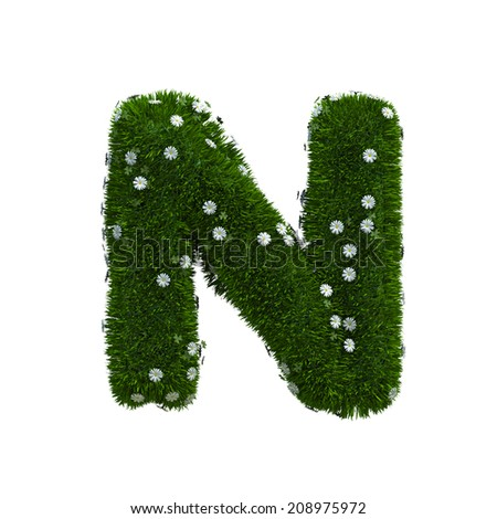 capital letter N spring or summer meadow  - stock photo