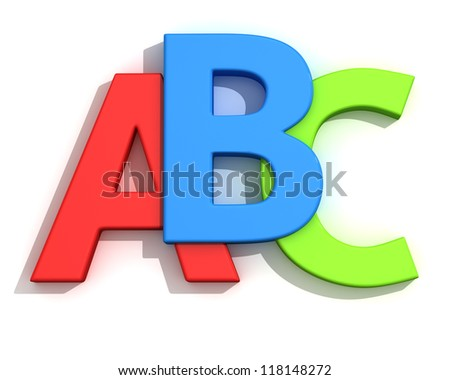 Capital letters A, B, C on the white background - stock photo