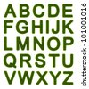 Capital letters of the alphabet made of grass - stock photo