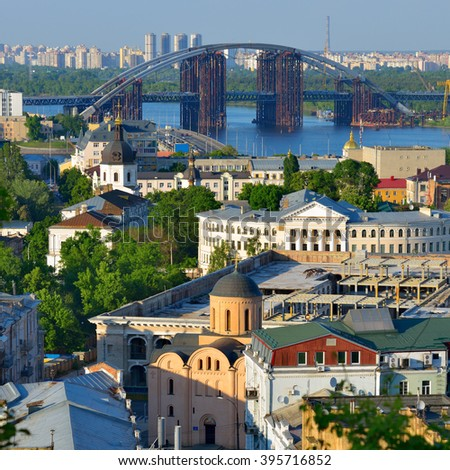 Capital of Ukraine, Kyiv. Beautiful view of the old district of Podil and the Dnieper River in Kiev. - stock photo
