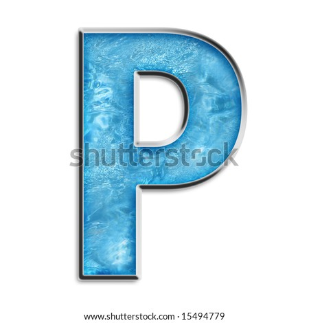 Capital P in shimmery blue isolated on white