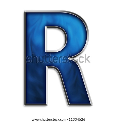 Capital R in steel smokey blue isolated on white