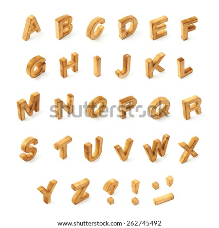 Capital wooden block letter ABC alphabet set including multiple punctuation symbols isolated over the white background - stock photo