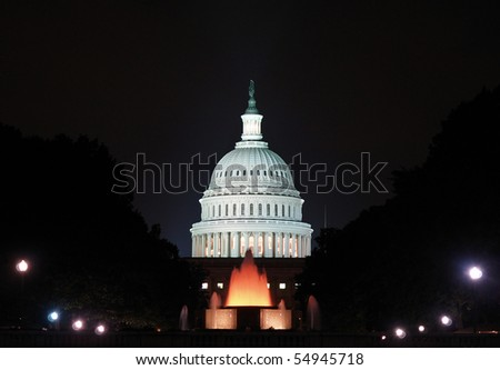 Capitol Building at dusk, Washington DC - stock photo