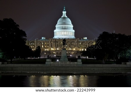 Capitol Building at night in Washington DC