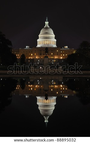 Capitol building at night with reflection on pool