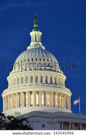 Capitol Building dome at night - Washington DC United States