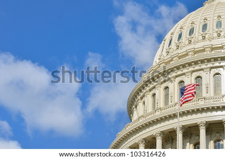 Capitol Building dome detail with copyspace - Washington DC United States - stock photo