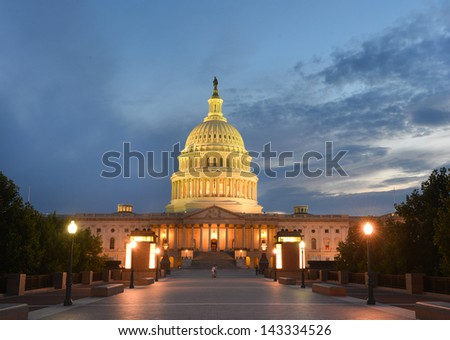 Capitol Building east facade in the evening - Washington DC United States