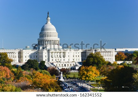 Capitol Building in Autumn - Washington DC, United States  - stock photo