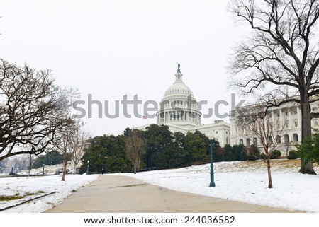 Capitol Building in snow - Washington DC, United States  - stock photo