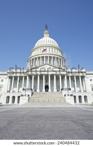 Capitol Building Washington DC USA scenic view with entrance staircase - stock photo