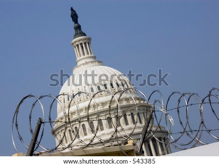 Capitol Dome Guarded - stock photo