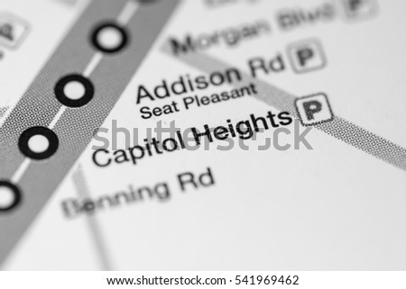 Capitol Heights Station. Washington DC Metro map.