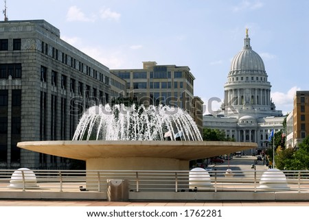 Capitol of Wisconsin in Madison, standing on rooftop of Monona Terrace - stock photo