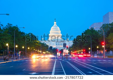 Capitol sunset Pennsylvania Avenue congress Washington DC USA - stock photo
