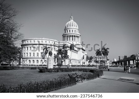 Capitolion in Havana, Cuba - city architecture. Famous National Capitol building. Black and white tone - retro monochrome style. - stock photo